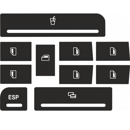 Kit Autocolantes em vinil p/ Reparação Botões dos Elevadores dos Vidros para Audi A3/ A4/ A6 [KITEA3]