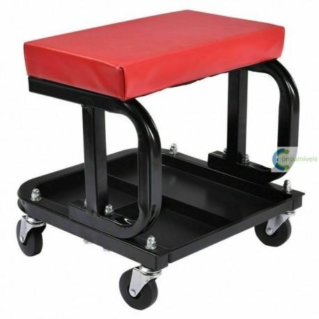 Cadeira de oficina mecânica com 4 rodas e prateleira para ferramenta